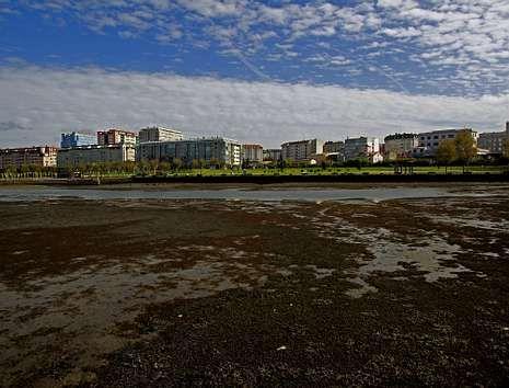 Imagen de la ría de O Burgo en marea baja, donde se aprecian los lodos que inundan los fondos.