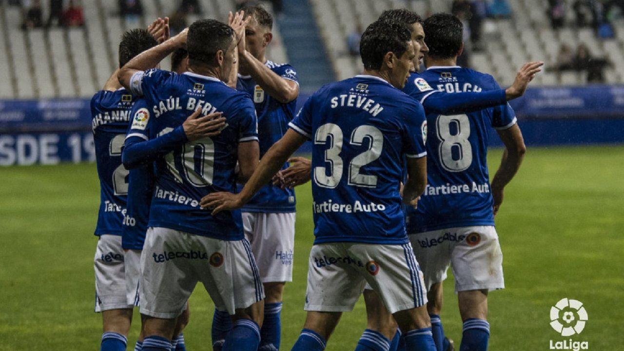 Elche - Deportivo, las mejores imágenes.Los jugadores del Oviedo celebran uno de los tantos marcados al Rayo Majadahonda