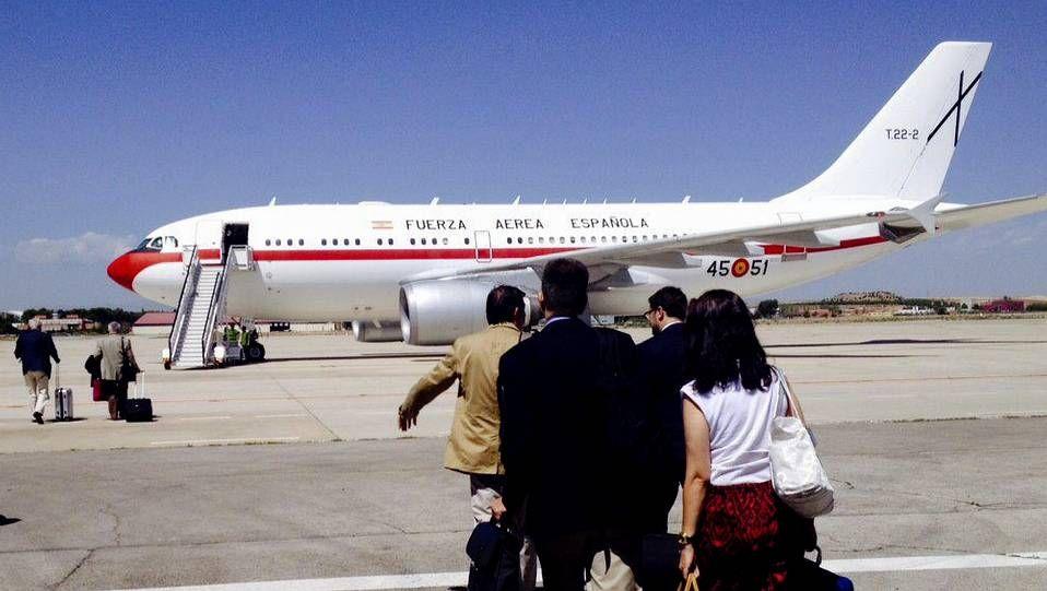 El avión, antes de salir de la base aérea de Torrejón