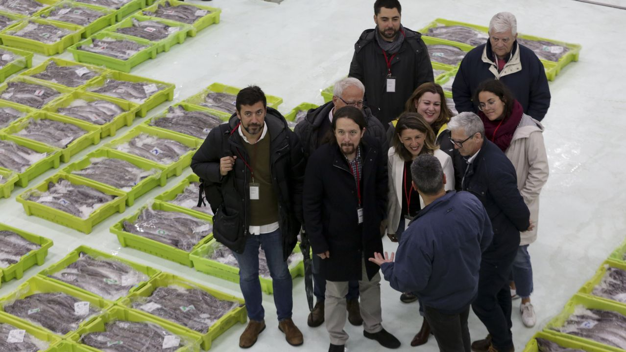 Pablo Iglesias en la lonja de A Coruña.Ana Seijas, candidata de En Marea