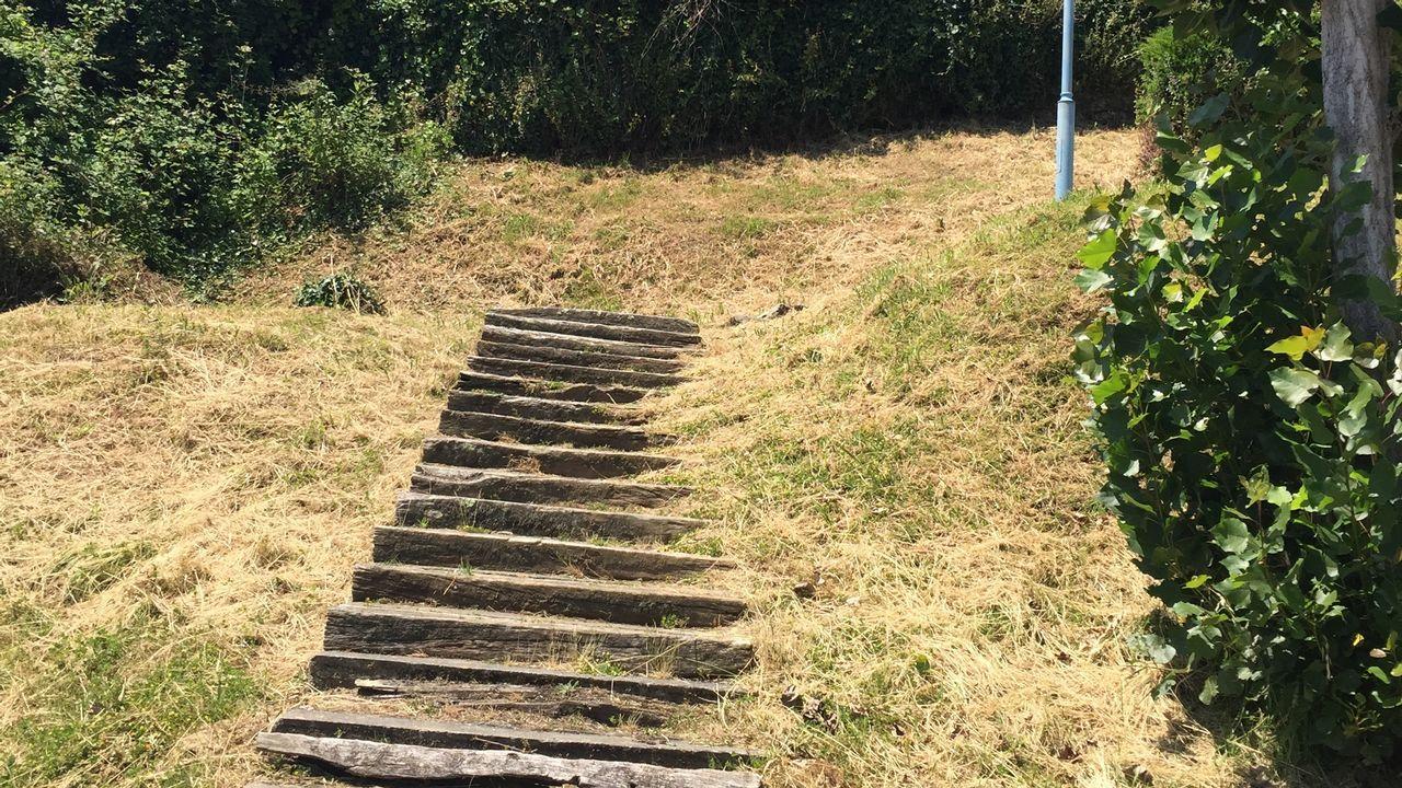 La limpieza de la maleza permite observar cómo los escalones de madera instalados para salvar el desnivel se han desgastado y presentan desperfectos.