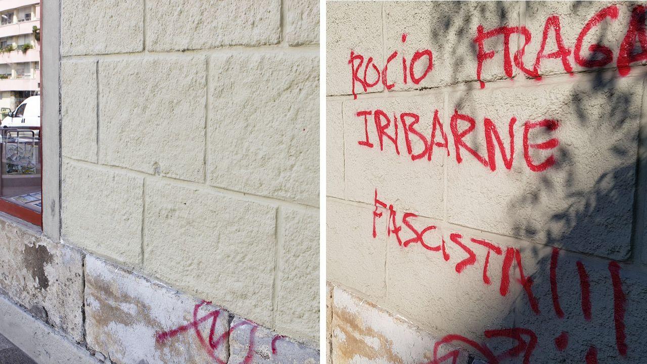 A la derecha, la pintada contra la concejala responsable de Seguridade Cidadá en la fachada de un local privado de la Ciudad Vieja, a la derecha, el mismo edificio con la fachada limpia.